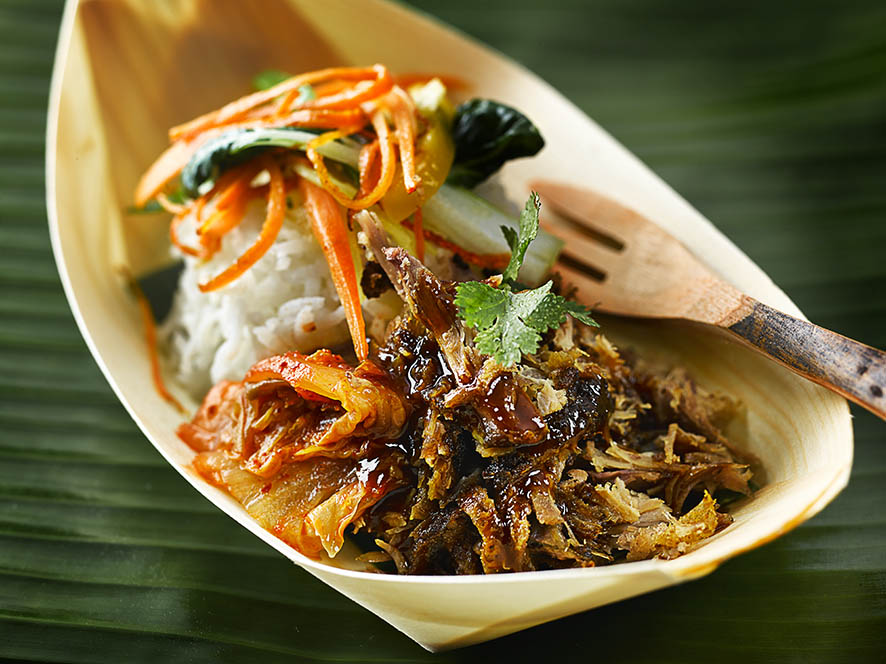 Pulled duck in bamboo boat in London Street Food Photography blog