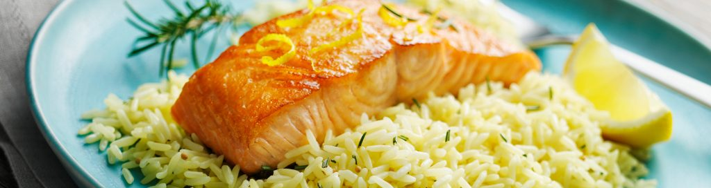 Pan roasted Salmon with Lemon Rice