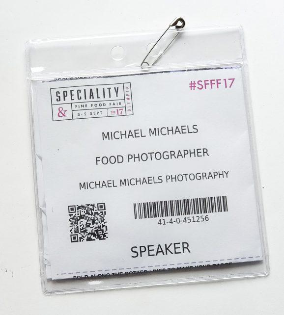 Speaker Badge fro London food photographer